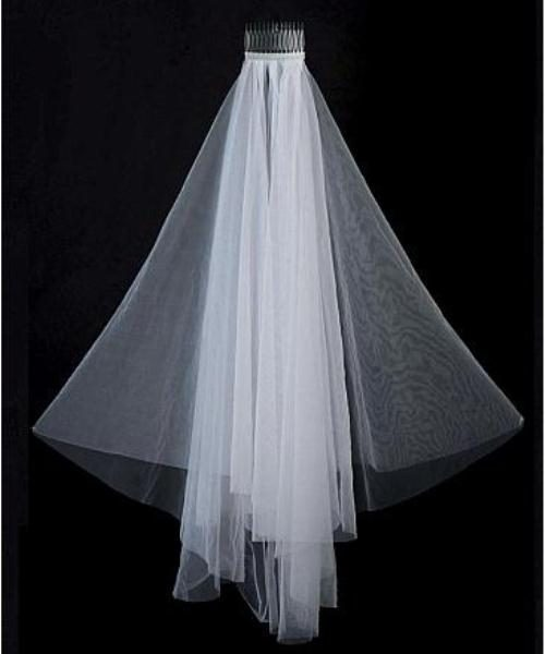 Beautiful White Tulle Two-tier Wedding Bridal Veil With Comb