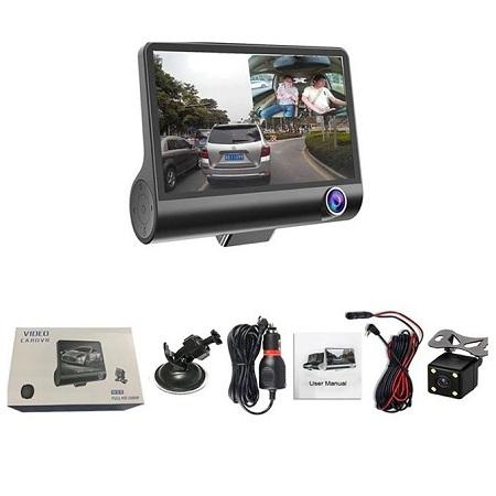 1080P 3 Lens G-sensor HD Car DVR Dash Cam Front 4