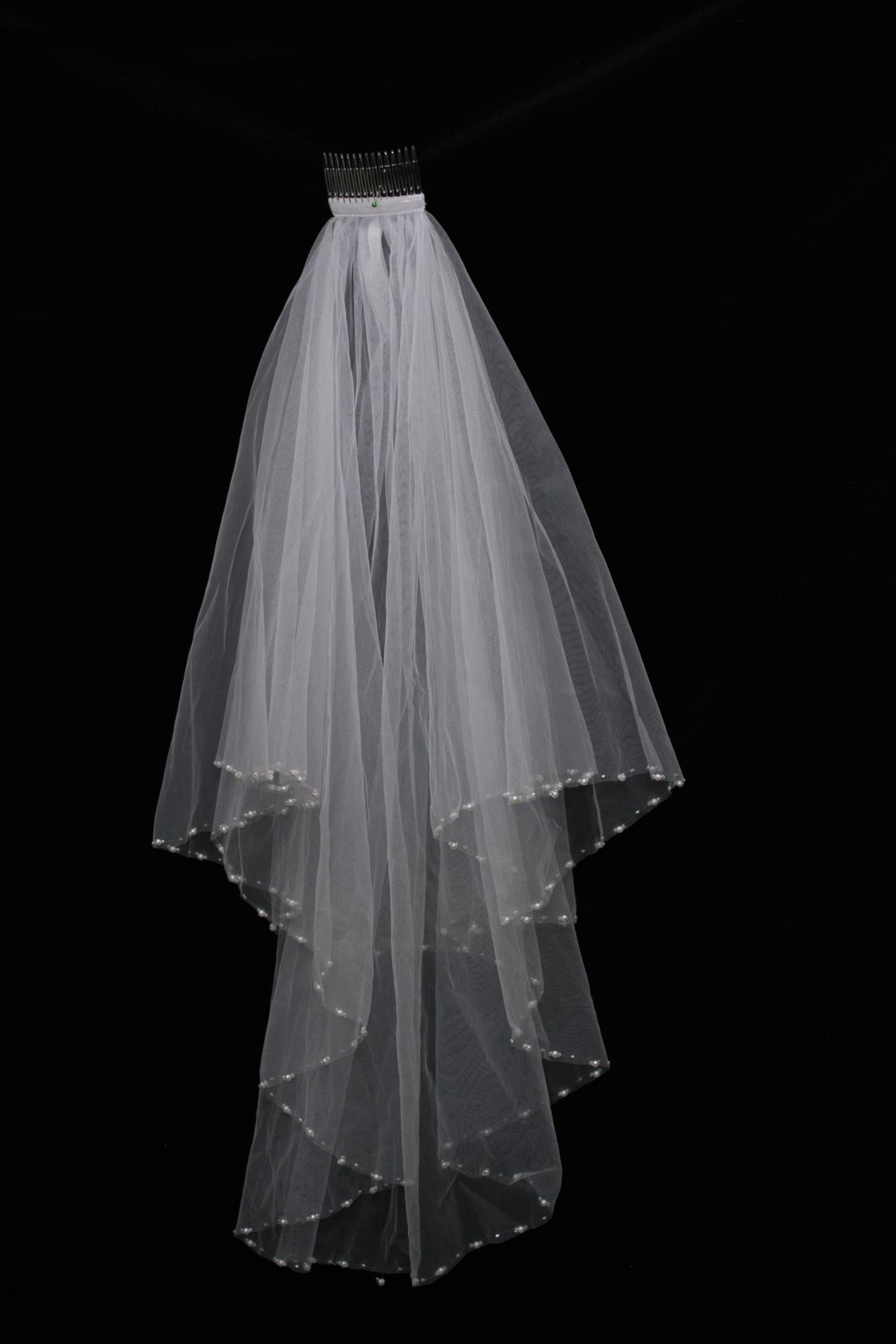 White Pearl Wedding Veil With Seed Beads Waist Length