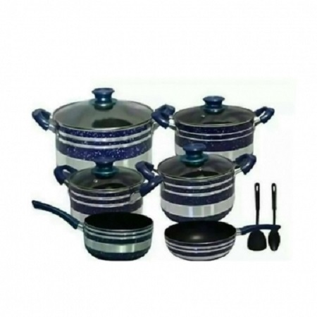 NON- STICK COOKING POTS - 12 PIECES WITH TWO NON-STICK COOKING SPOONS Blue Normal size