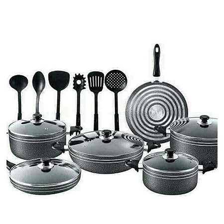 Nonstick Pots And Pans Kitchen Cookware Gift Set With Cooking Utensils, Black black different sizes