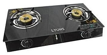 Lyons GS007- 2 Burner - High Efficiency Gas Stove Easy to clean Explosion-Proof Glass top - Black