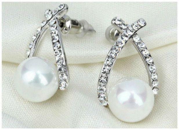 Silver Beautiful Classic Pearl Rhinestone Party Bridal Drop Stud Earrings