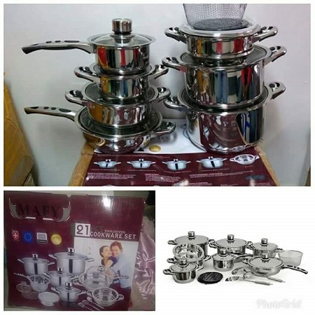 21PCS Heavy gauge cooking ware silver different sizes
