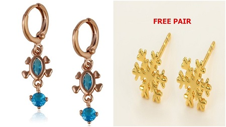 Gold Coated Blue  Earring + 1 FREE PAIR OF STUDS- S-M
