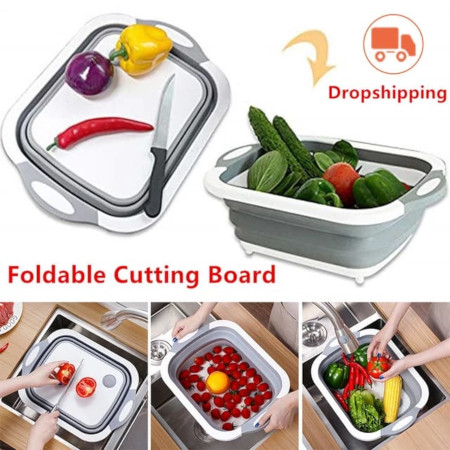 3 In 1 Collapsible Chopping Board,Wash Basin Colander