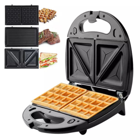 3-In-1 Sandwich Maker Multifunctional Waffle Machine With 3 Detachable Non-Stick