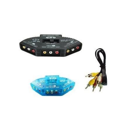 3 Way Audio Video AV RCA Switch Switcher Splitter