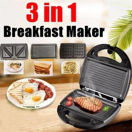 3in One Breakfast Maker For Grilling Burgers And Meat, Sandwiches And Waffles