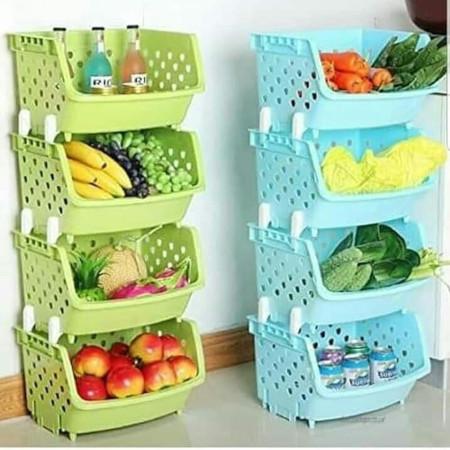 4 Tier Kitchen Fruit Vegetable Storage Basket Rack