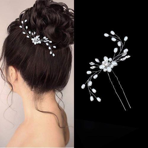 Fashion Bridal Pearl Hair Pin Flower Wedding Jewelry