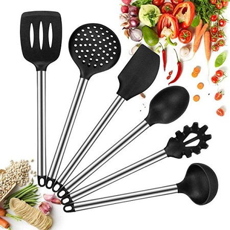 6 Piece Non-Stick Cooking Spoons Set - Black Normal