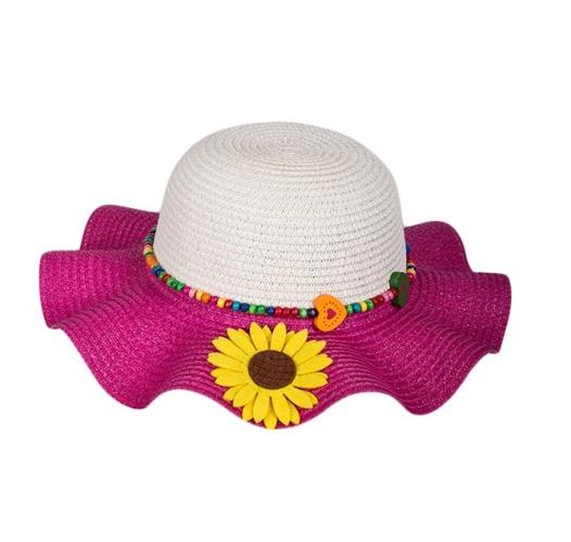 Kids Multi-Colors Large Brim Flower Beach Sun Hats for Girls