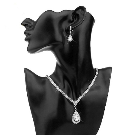 Fashion Water drop Design Crystal Bridal Jewelry Sets Silver Plated Women Necklace Earrings Wedding Jewelry Set