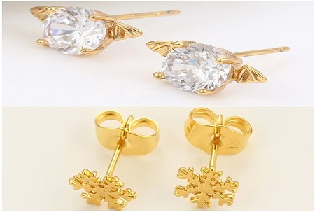 2 Pairs Gold Coated Studs