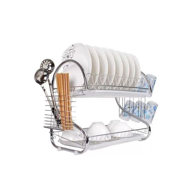 Generic Stainless Steel Dish Rack 2 Tier - Space Saver Dish Drainer Drying Holder Sliver