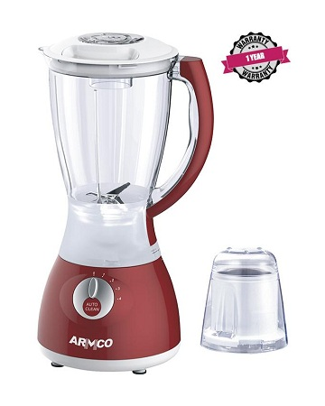 ARMCO ABL-742RX, 1.5L Blender, Stainless Steel Blades, Unbreakable PC Jar, Mill, Copper Motor, 400W.