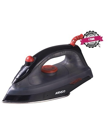ARMCO AIR-7BD - Mid Size Dry/Steam Iron, Stainless Steel Sole Plate, 1600W, Black