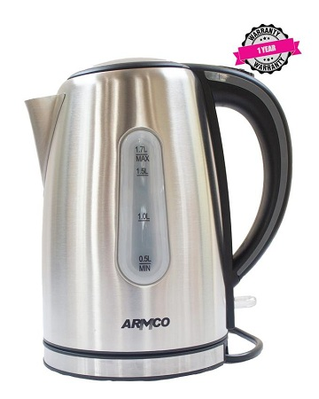 ARMCO AKT-1821LED(SS) - 1.8L LED Lighted Stainless Steel 360° Cordless Kettle, 1800W.