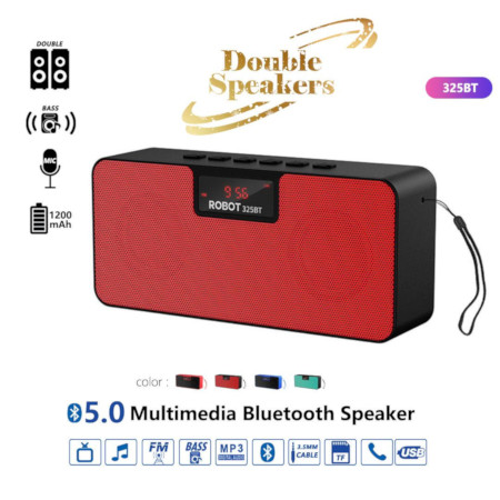 Robot Multimedia Bluetooth Speaker With Double Speakers 323BT Red