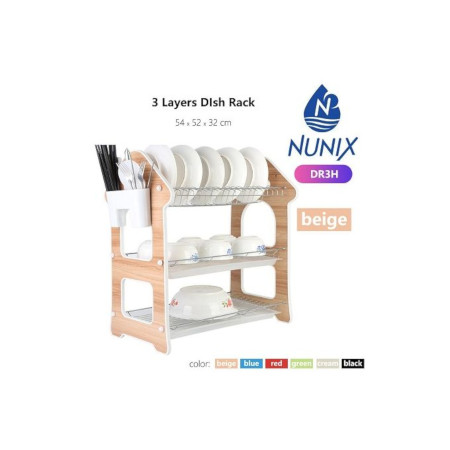 Nunix 3 Layers Dish Rack With Draining Board Beige