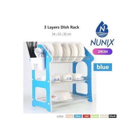 Nunix 3 Tier/Layer Dish Rack Dish Drainer Blue