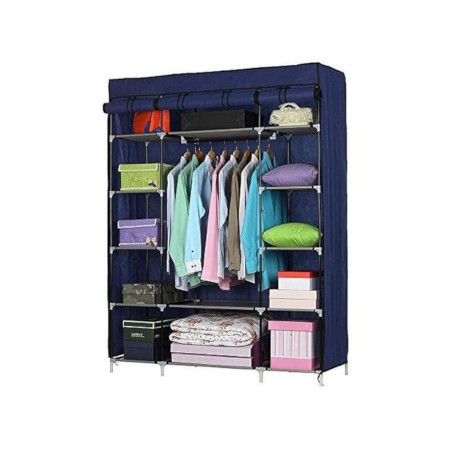 Nunix Portable Cloth Wardrobe 3 Column Navy Blue