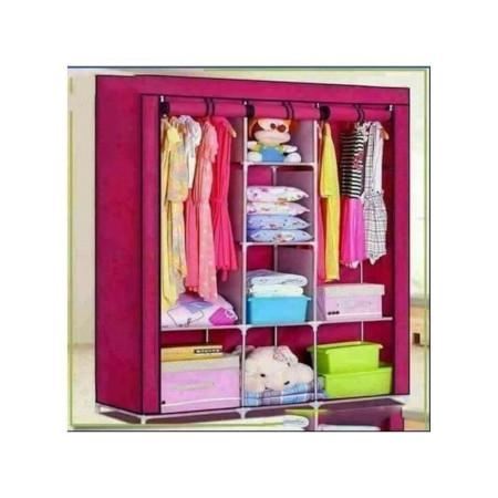 Nunix Portable Cloth Wardrobe 3 Column Pink