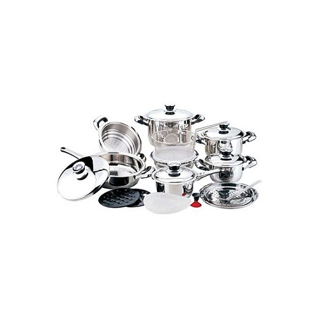 25 Pcs Heavy Duty Stainless steel Cookware Set silver 25pcs