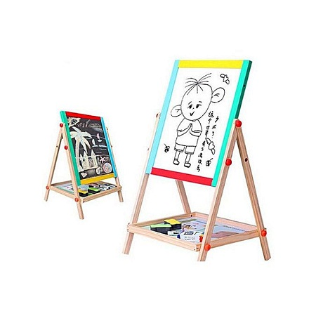 2 in 1 Wooden Blackboard & Whiteboard Double Sided black+white normal
