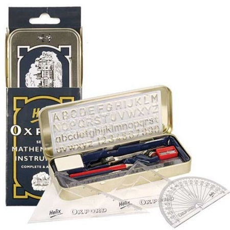 Oxford School Mathematical Geometrical Set blue+silver standard