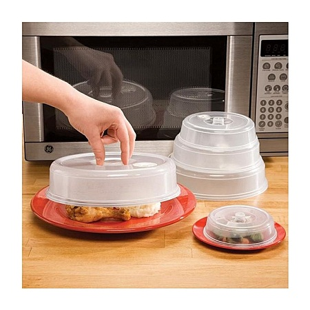 Ventilated Microwave Plate Covers clear 3pcs