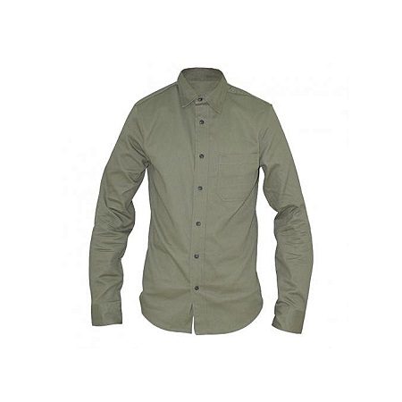 features:Collared,cotton, Long sleeved, Front pocket.