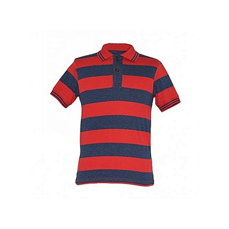 Zecchino Red and Navy Striped Mens Polo Shirts