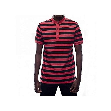 Zecchino Black / Red Mens Striped Mandarin Collar T-shirts