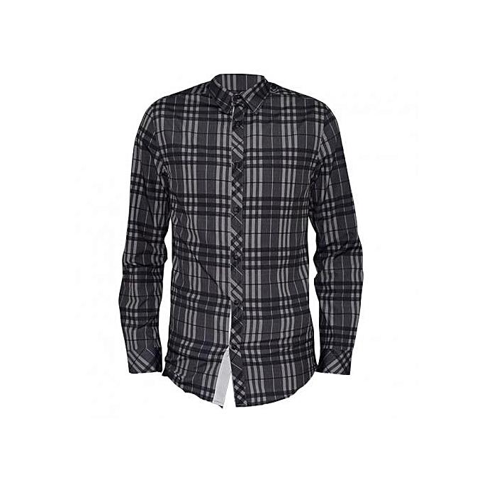 Zecchino Grey Checked Long Sleeved Mens Casual Shirts