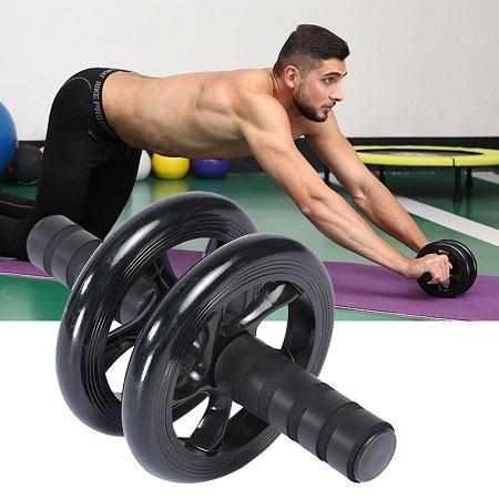 Abs Roller Workout Arm And Waist Fitness Exerciser Wheel FREE KNEE MATT Black Medium