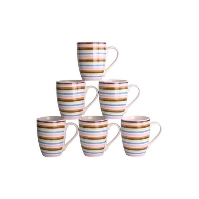 Classic Kitchenware Beautiful Ceramic Mugs Set - 6pcs- 385ml