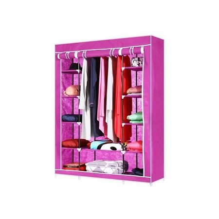 3Column Portable Wardrobe-Pink