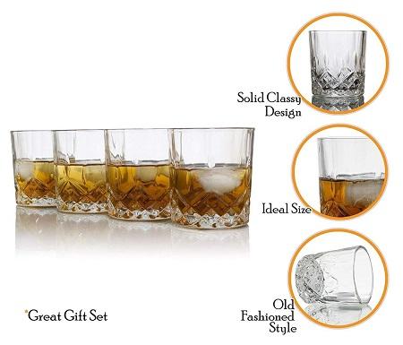 Whisky glasses gold ring 6pcs