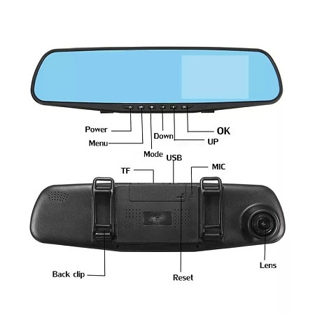 FRONT& REAR CAMERA REAR VIEW MIRROR DASHCAM FULL HD RECORDER