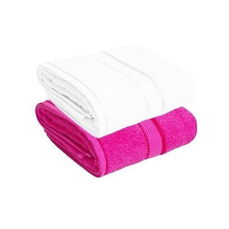 Fashion Bath Towel Set Of 2 -100% Cotton Texture - White & Pink