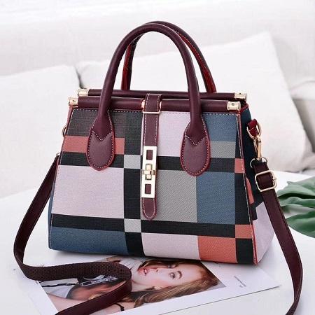 Fashion Maroon Multicolored Handbag