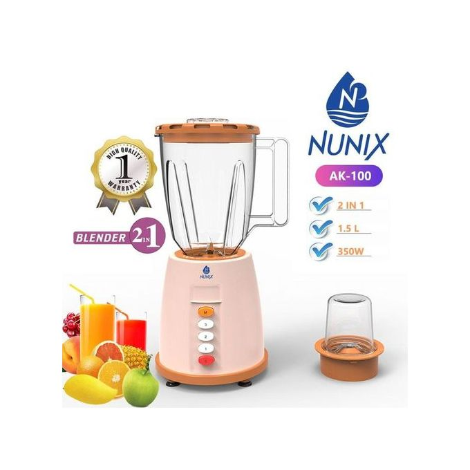 Nunix AK-100, 2 In 1 Blender With Grinding Machine, 1.5L