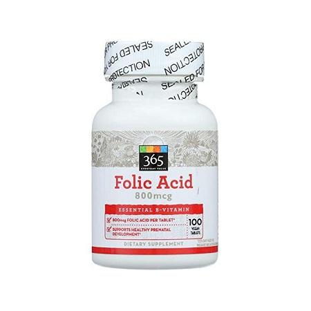 365 Everyday Value Folic Acid 800mcg 100 Ct