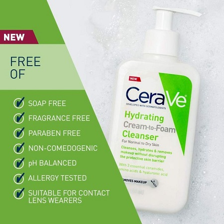 Cerave Hydrating Cream-to-Foam Cleanser (face)-hyaluronic Acid