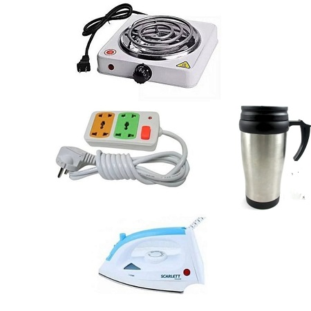 Electric Hot Plate + Two Way Extension Cable with Scarlett Iron Box with FREE Travelling Mug