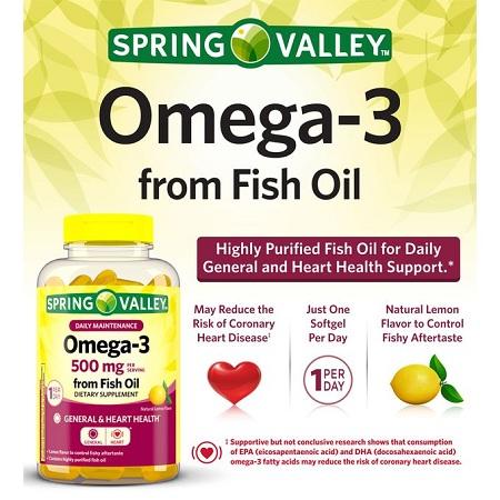 Spring valley Fish Oil Softgels, Heart,Immune,Eye,Brain,Skin,Joint Health