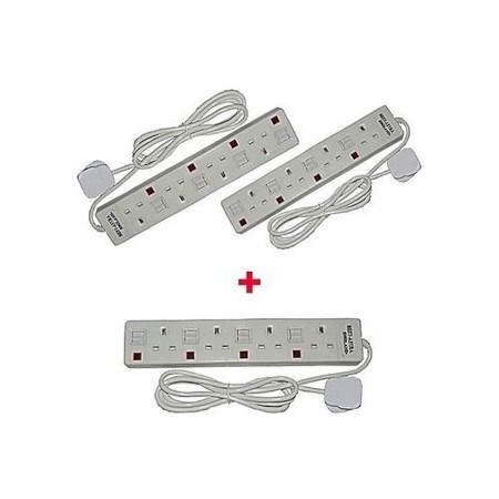Astra Two 4-Way Socket Extension Cables+ One Free - White