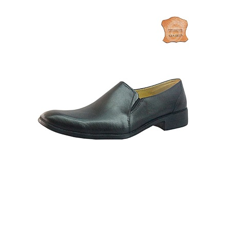 Black Cap Toe Slip On Shoes